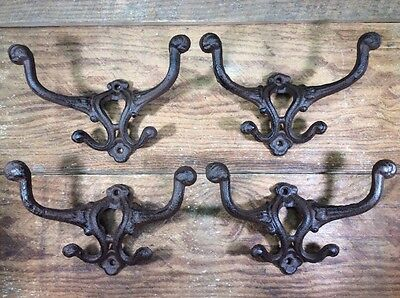 4 Hall Tree Cast Iron Coat Double Hooks Hat Wall Rustic Antique Vintage Style