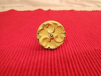 "Antique Ornate Victorian Rosette Drawer Pull Painted Shabby 1"" D Yellow"