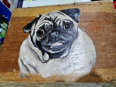 "Vintage Hand Painted on Wood ""Puggo"" my PUG DOG by Diana c 1970s"