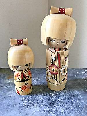 Pair of Traditional Kokeshi Dolls Wooden Japanese Japan Doll Cherry Blossom