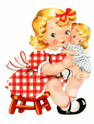 Vintage Image Shabby Retro Little Girl and Her Dolly Waterslide Decals KID556
