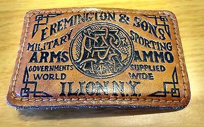 Vintage Leather Wrapped Belt Buckle~E. Remington & Sons Military Arms~Ilion NY