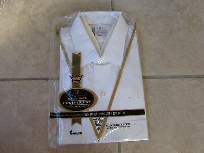 Mens Vintage JC PennysTownCraft Dress Shirt Size 16.2 33 White Long Sleeve NIP