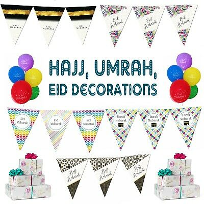 Eid Hajj Umrah Mubarak Party Decorations Banner Balloons Flags Buntings Cards