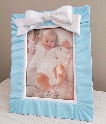 Vintage 1992 HALLMARK BABY Picture Photo Frame BLUE WHITE RIBBON RUFFLES