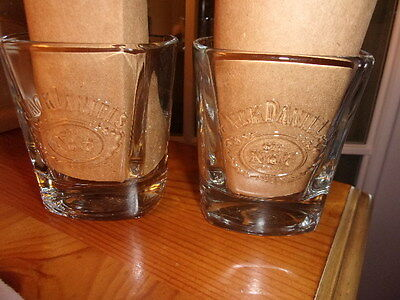 2 Jack Daniels Whiskey Square Embossed Signed Glasses We Make It The Best We Can
