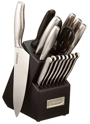 Stainless Steel Kitchen Knife Set Block Piece Cutlery Chef Knives Collection Pro