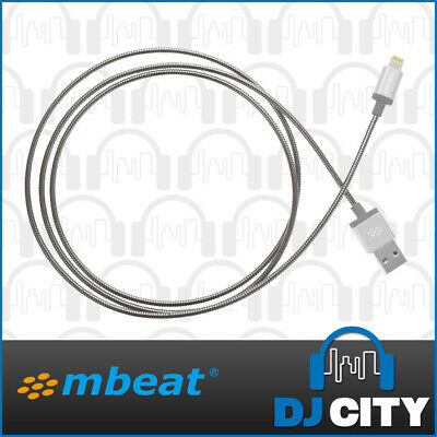 mBeat ToughLink MFI iOS Lighting - USB Cable Metal Braided Tangle Proof - Silver