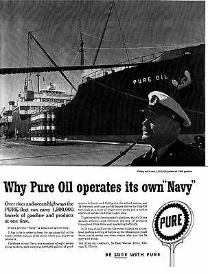1957 Pure Oil & Gas -Operates It's Own Navy-Original 10.5 x 13.5 Magazine Ad