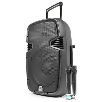 Vonyx SPJ-PA912 Rechargeable 12 Inch Portable Speaker System w/ 2x Wireless Mics
