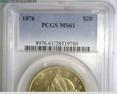 RARE 1876 Type II US $20 Double Eagle PCGS MS61 *  -  Very Nice ! * REDUCED *