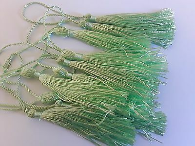 REDUCED~10 x LARGE-LIGHT GREEN -Silky Tassels for crafts 12-13 cms long~Bookmark