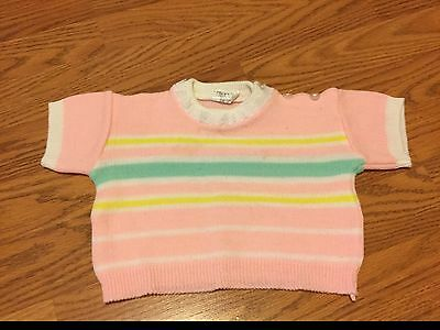 Vintage Japan Made Infant Girl Sweater Maybe Wool Pink Green Yellow 24 Months