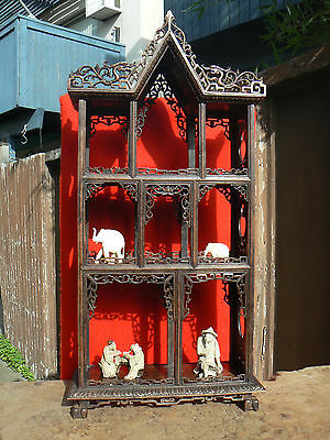 A1063 Exquisite Atq Chinese Carved Hardwood Shelf for Miniature Curio Display