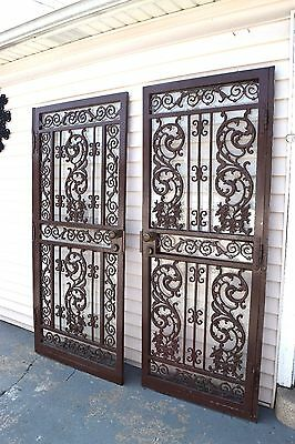 Vintage Matched Pair of Security Cast Ornate Iron Doors W/ Original Locks & Keys