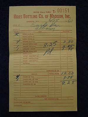 1960 HIRES BOTTLING Co Madison,WI RECEIPT Root Beer LOTTA COLA Squirt HOME-ADE