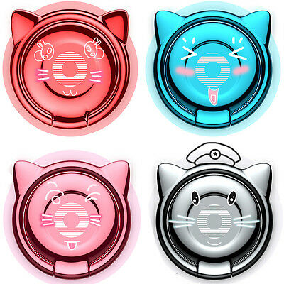 360° Rotation Phone Stand Cat Ear Finger Ring Bracket Holder For iPhone Samsung