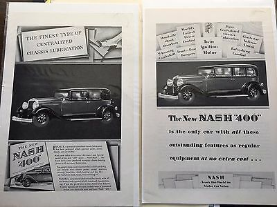 Vintage Automobile 1929 Nash 400 Advertising Ads Articles Great Condition