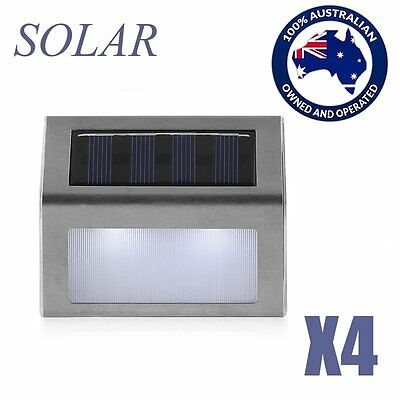 4X Outdoor Solar LED Deck Garden Stair Step Lights Stainless Steel Wall Light AU