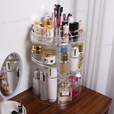3 Tier Makeup Organizer Storage Holder Jewelry Display 360° Rotating Box Case