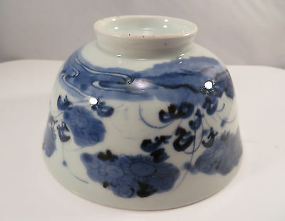 Antique Japanese Blue & White Arita Imari Porcelain Bowl Flowers Japan