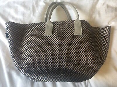 Hermes Blue And Straw Beach Bag Shopping Tote Oversized Handbag