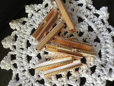Rose Gold Necklace Ribbon Leather Cord 30mm End Crimp Clamp 10 Pack Aus seller
