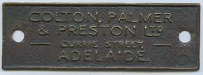 C.1920 Pressed Copper Advertising Plaque Colton Palmer & Preston Adelaide Sa