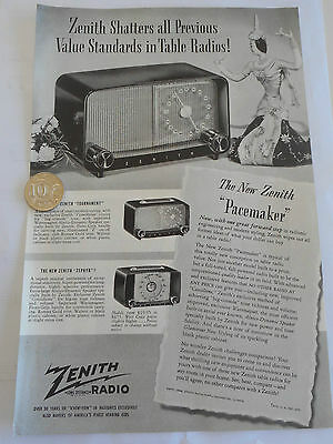 vintage ZENITH radio paper advertisement. photos. Pacemaker, Zephyr,Tournament