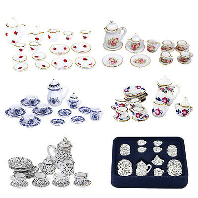 Lot of 15pcs 1/12 Dollhouse Miniature Ceramic Coffee Tea Cup Set Random New