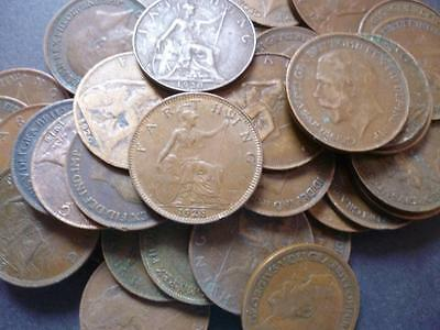 Farthing coins a pack of ten coins good used condition George 5th Britannia type