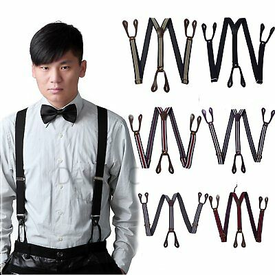 Mens Button Hole Classic Solid Elastic Suspenders Y-Shape Adjustable Braces 2017