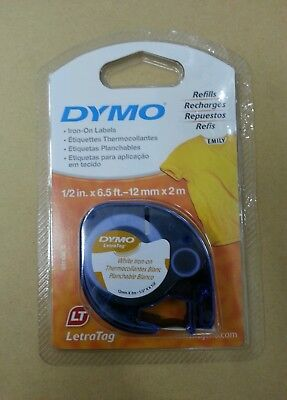 2 x White Dymo Tape Letratag Iron On Fabric Label Cassette Free Postage