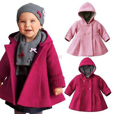 Baby Toddler Girls Kids Winter Warm Trench Coat Hooded Outerwear Jacket Clothes