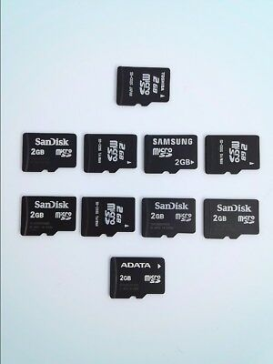 Lot of (10) Mixed Brand 2GB Micro SD SDHC Phone or Camera Memory Cards L448