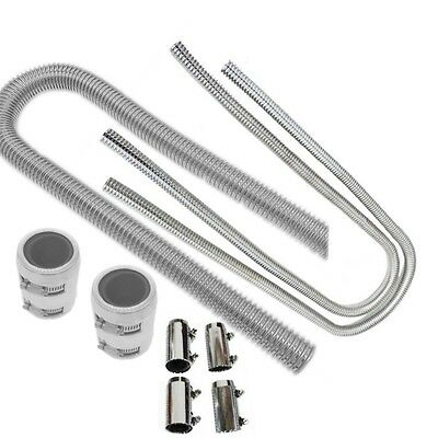"""48"""" Stainless Steel Flexible Radiator & 44"""" Heater Hose Kit With Clamp Covers"""