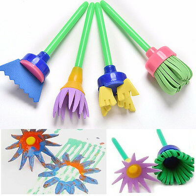 4 PCS Flower Stamp Sponge Brush Tool Set Art Supplies Kids Painting New
