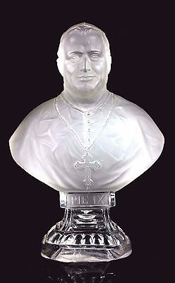 Vintage French St Louis Frosted Crystal Glass Bust Of Pope Pius Ix Pie Ix
