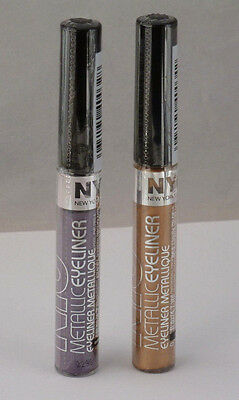 NYC Metallic Liquid Coloured Eyeliner 4.7ml Purple Gold New and Sealed