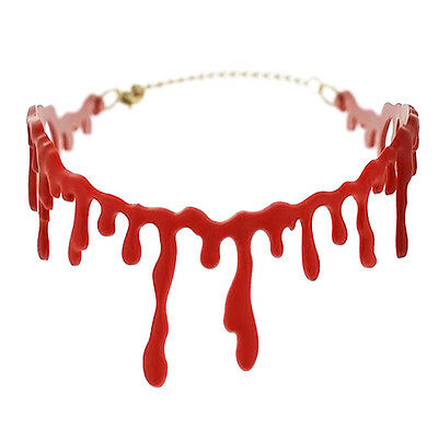 1xHandmade Cutting Bloodstain Necklace Halloween Props Party Cosplay New Kits