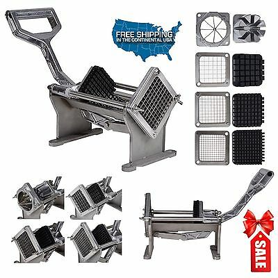 Commercial Quality French Fry Potato Cutter Fruits Vegetables Slicer w 4 Blades@