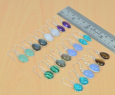 Wholesale 11Pair 925 Solid Sterling Silver Natural Turquoise Hook Earring Lot