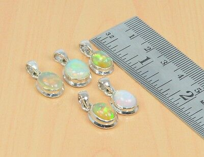 Wholesale 5Pc 925 Solid Sterling Silver Natural Ethiopian Opal Nice Pendant Lot