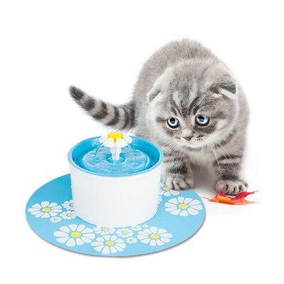 Automatic Dog Cat Water Drinking Flower Fountain Pet Electric Bowl Dink UK 1.6L