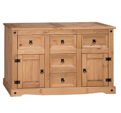 Rustic Wooden Pine Sideboard Chest of Drawers Cabinet Cupboard Mexican Furniture
