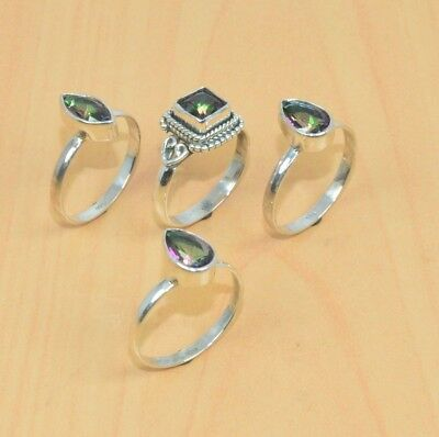 Wholesale 4Pc 925 Solid Sterling Silver Natural Faceted Mystic Topaz Ring Lot
