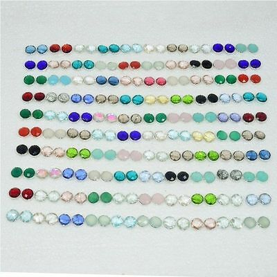 Wholesale 100Pair 925 Solid Sterling Silver Smokey & Mix Stone Stud Earring Lot