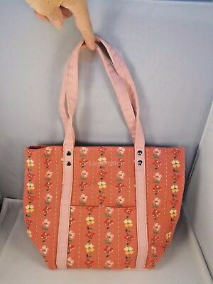 "Longaberger Flower Cloth Purse Satchel Tote 8.75"" Tall 11"" Wide"