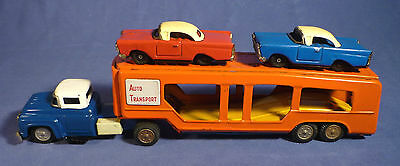 Japan Blech Auto Transport Lkw vintage 60's tin toy truck car carrier G173