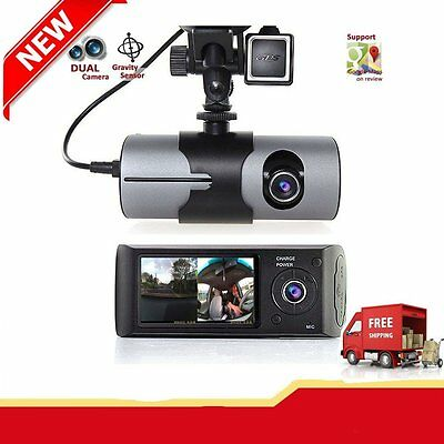 Dual Lens GPS Camera HD Car DVR Dash Cam Video Recorder G-Sensor w/ Night LN